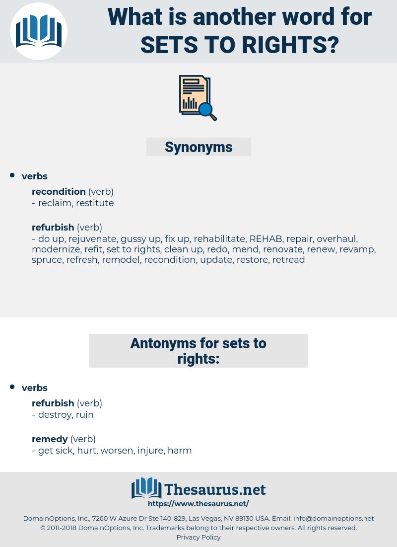 sets to rights, synonym sets to rights, another word for sets to rights, words like sets to rights, thesaurus sets to rights