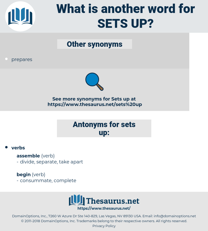 sets up, synonym sets up, another word for sets up, words like sets up, thesaurus sets up