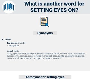 setting eyes on, synonym setting eyes on, another word for setting eyes on, words like setting eyes on, thesaurus setting eyes on