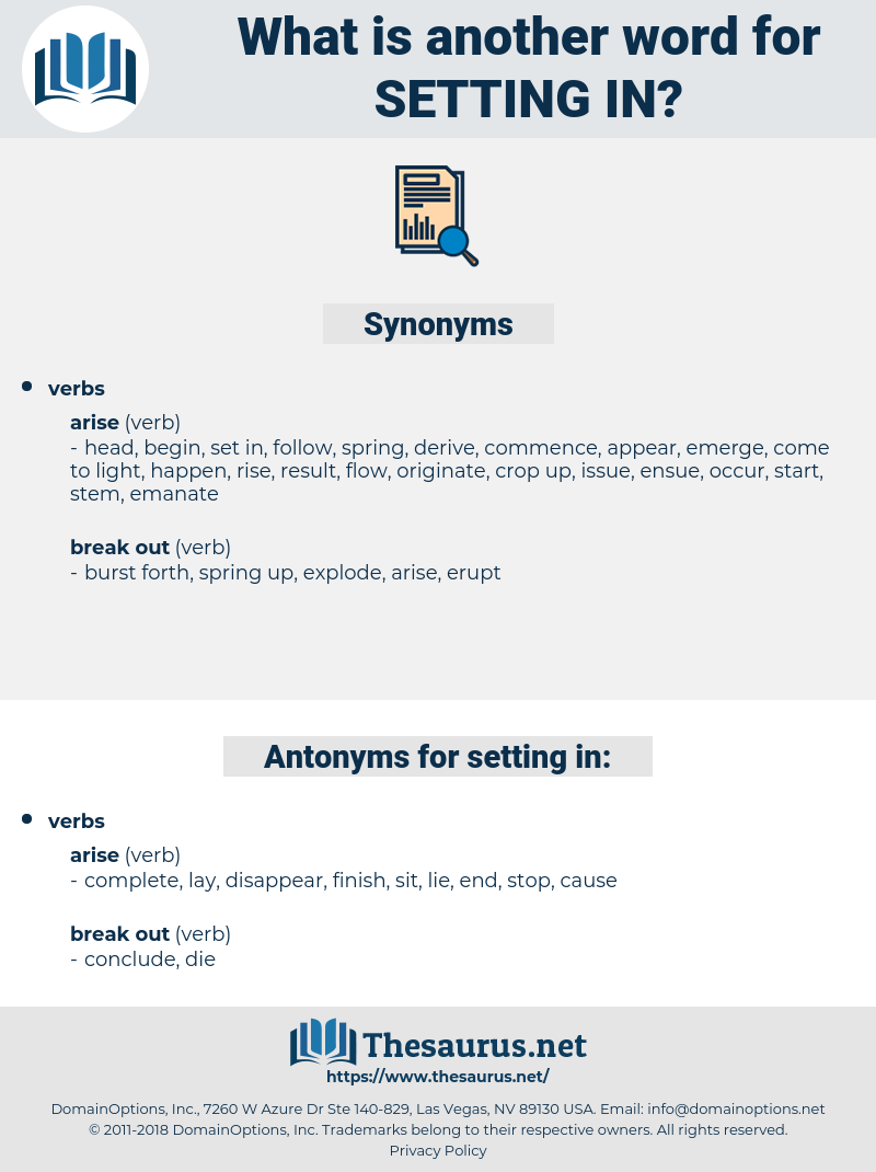 setting in, synonym setting in, another word for setting in, words like setting in, thesaurus setting in