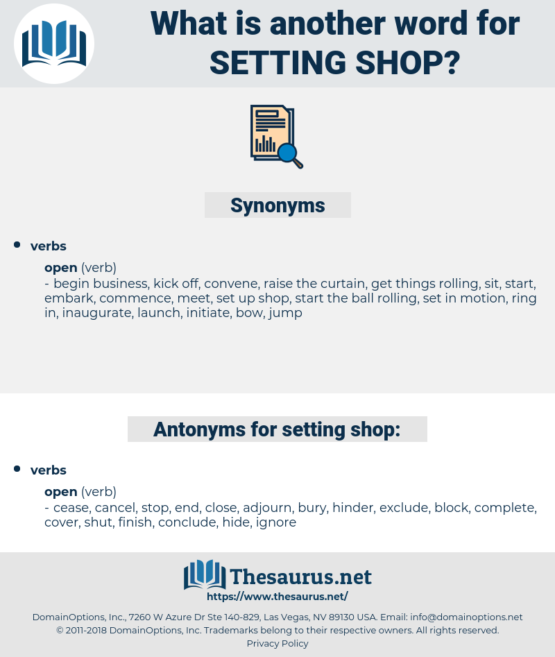 setting shop, synonym setting shop, another word for setting shop, words like setting shop, thesaurus setting shop