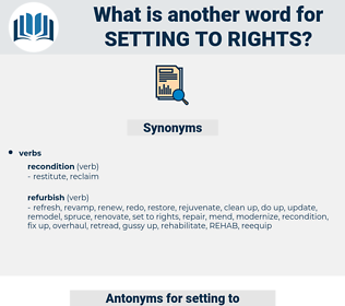 setting to rights, synonym setting to rights, another word for setting to rights, words like setting to rights, thesaurus setting to rights