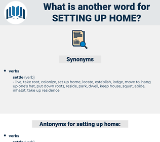 setting up home, synonym setting up home, another word for setting up home, words like setting up home, thesaurus setting up home
