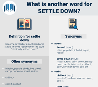 settle down, synonym settle down, another word for settle down, words like settle down, thesaurus settle down