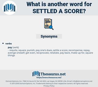 settled a score, synonym settled a score, another word for settled a score, words like settled a score, thesaurus settled a score