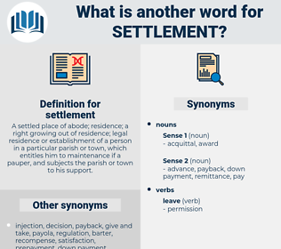 settlement, synonym settlement, another word for settlement, words like settlement, thesaurus settlement