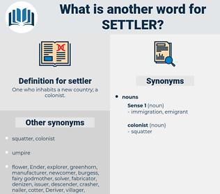 settler, synonym settler, another word for settler, words like settler, thesaurus settler
