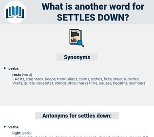 settles down, synonym settles down, another word for settles down, words like settles down, thesaurus settles down