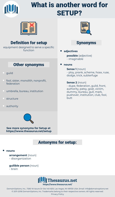 setup, synonym setup, another word for setup, words like setup, thesaurus setup