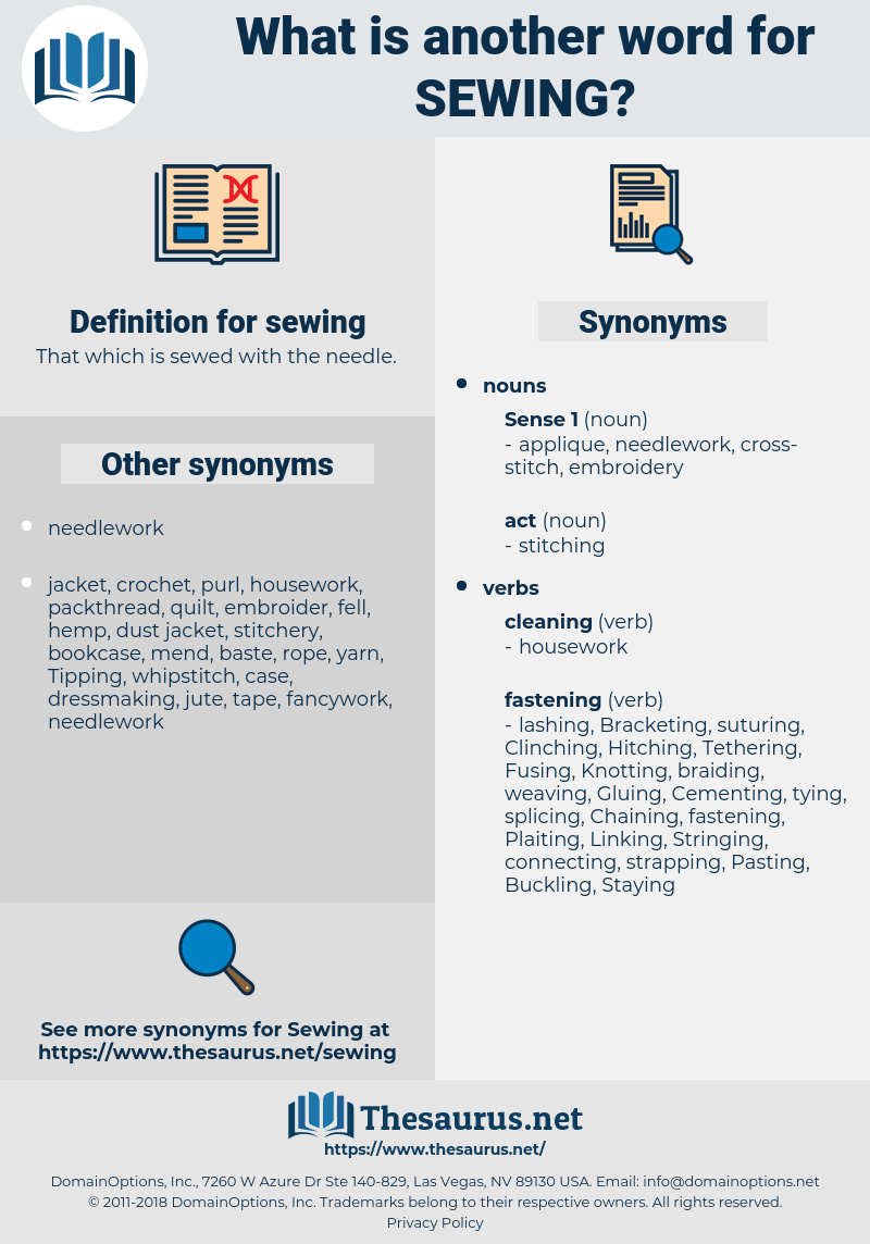 sewing, synonym sewing, another word for sewing, words like sewing, thesaurus sewing