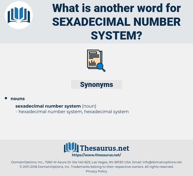 Sexadecimal Number System, synonym Sexadecimal Number System, another word for Sexadecimal Number System, words like Sexadecimal Number System, thesaurus Sexadecimal Number System