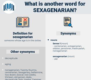 sexagenarian, synonym sexagenarian, another word for sexagenarian, words like sexagenarian, thesaurus sexagenarian