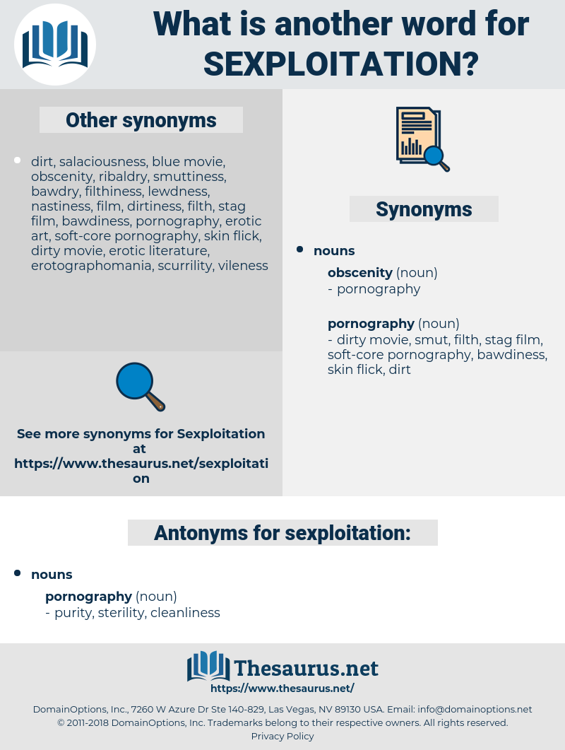 sexploitation, synonym sexploitation, another word for sexploitation, words like sexploitation, thesaurus sexploitation