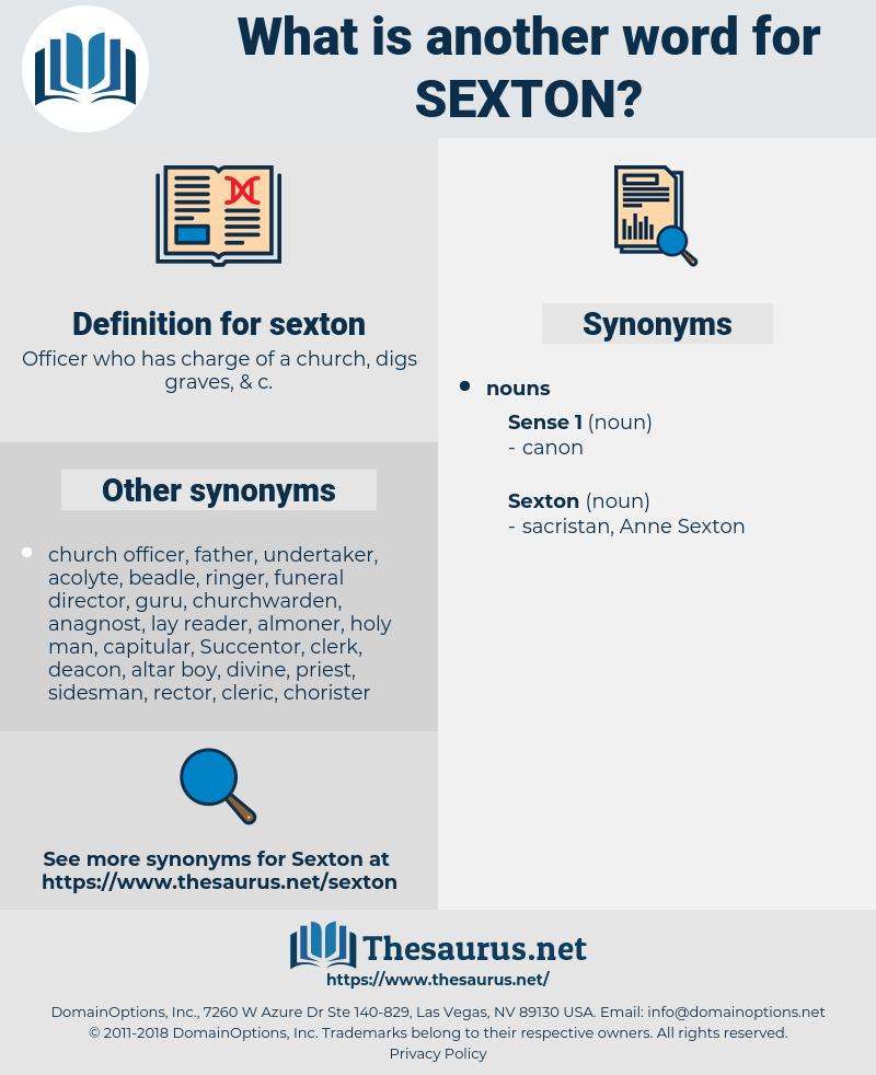 sexton, synonym sexton, another word for sexton, words like sexton, thesaurus sexton