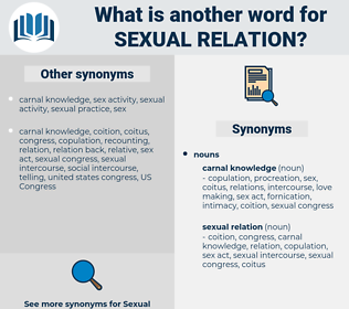 sexual relation, synonym sexual relation, another word for sexual relation, words like sexual relation, thesaurus sexual relation