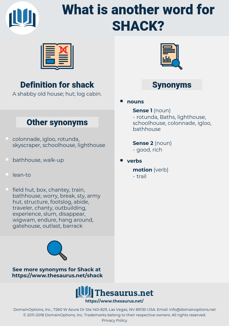 shack, synonym shack, another word for shack, words like shack, thesaurus shack