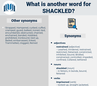 shackled, synonym shackled, another word for shackled, words like shackled, thesaurus shackled