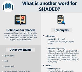 shaded, synonym shaded, another word for shaded, words like shaded, thesaurus shaded
