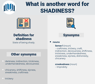 shadiness, synonym shadiness, another word for shadiness, words like shadiness, thesaurus shadiness