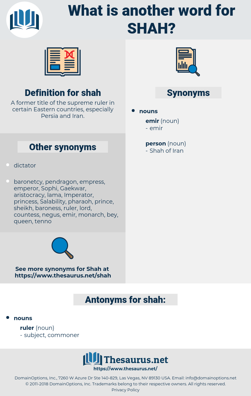 shah, synonym shah, another word for shah, words like shah, thesaurus shah