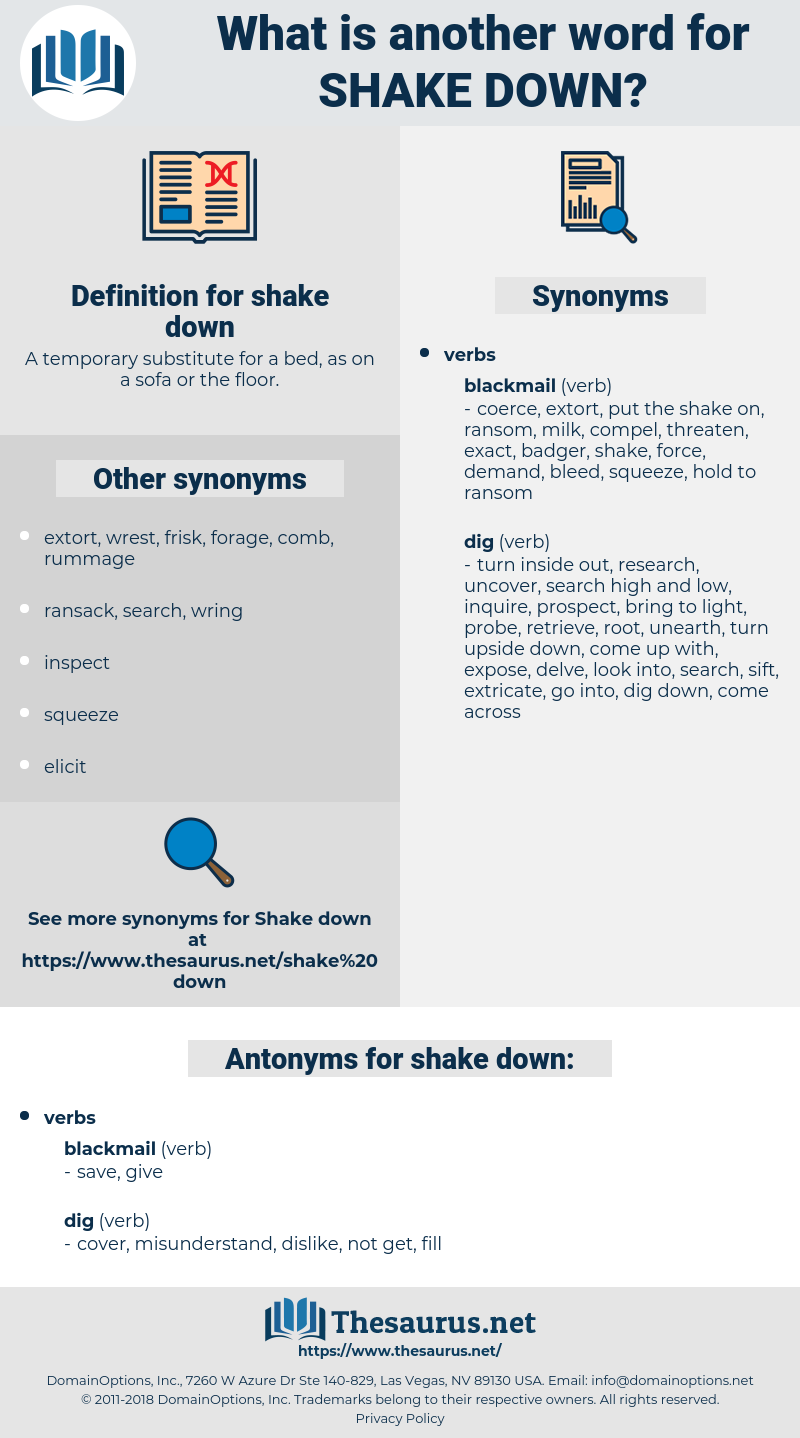 shake down, synonym shake down, another word for shake down, words like shake down, thesaurus shake down
