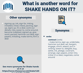 shake hands on it, synonym shake hands on it, another word for shake hands on it, words like shake hands on it, thesaurus shake hands on it