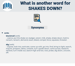 shakes down, synonym shakes down, another word for shakes down, words like shakes down, thesaurus shakes down