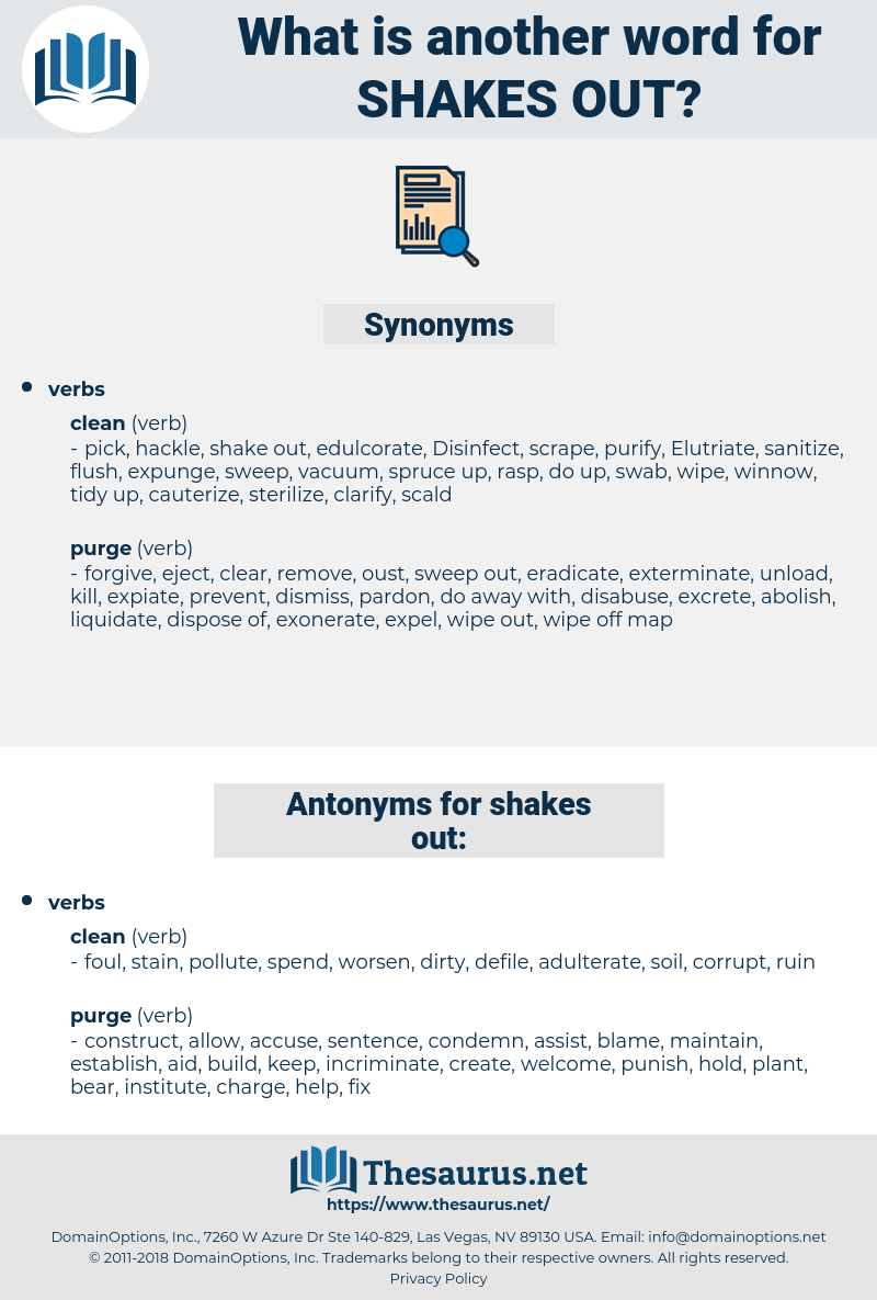 shakes out, synonym shakes out, another word for shakes out, words like shakes out, thesaurus shakes out