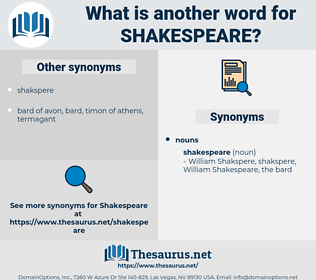 shakespeare, synonym shakespeare, another word for shakespeare, words like shakespeare, thesaurus shakespeare