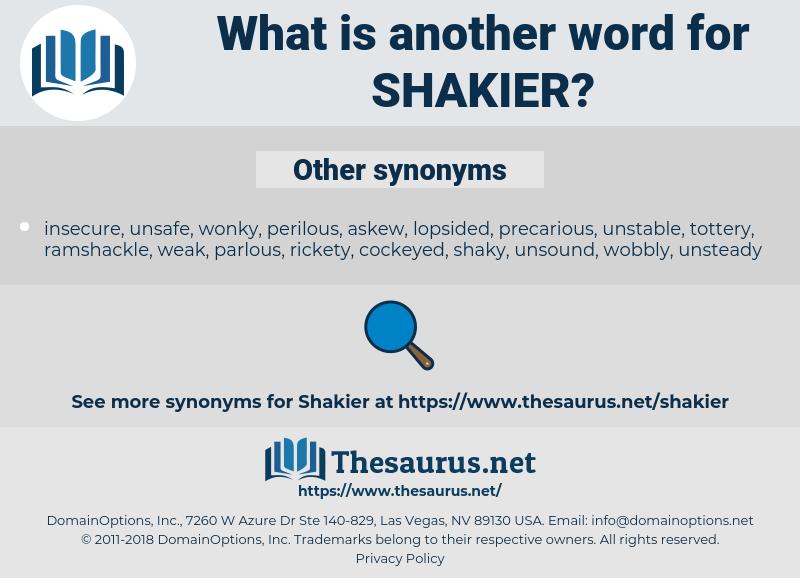 shakier, synonym shakier, another word for shakier, words like shakier, thesaurus shakier