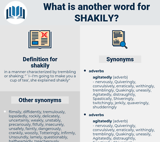 shakily, synonym shakily, another word for shakily, words like shakily, thesaurus shakily