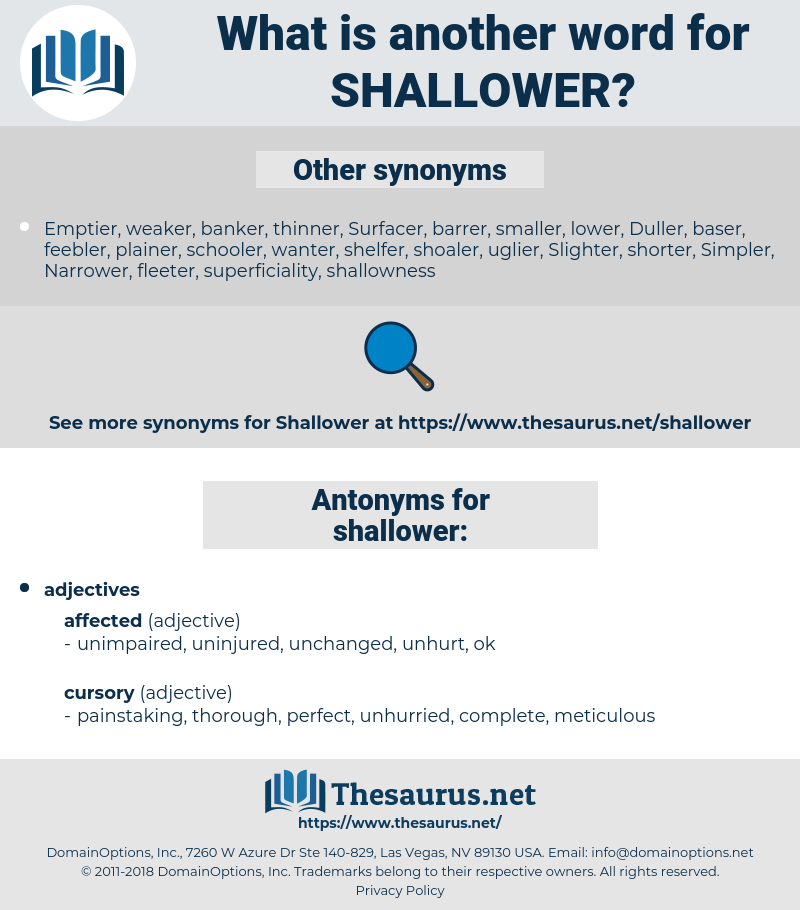 shallower, synonym shallower, another word for shallower, words like shallower, thesaurus shallower