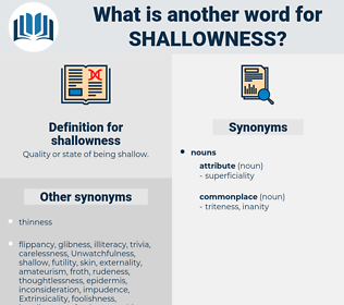 shallowness, synonym shallowness, another word for shallowness, words like shallowness, thesaurus shallowness