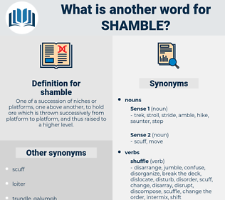shamble, synonym shamble, another word for shamble, words like shamble, thesaurus shamble