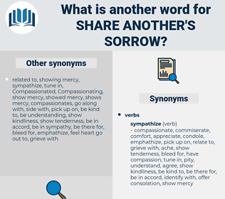 share another's sorrow, synonym share another's sorrow, another word for share another's sorrow, words like share another's sorrow, thesaurus share another's sorrow