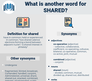 shared, synonym shared, another word for shared, words like shared, thesaurus shared