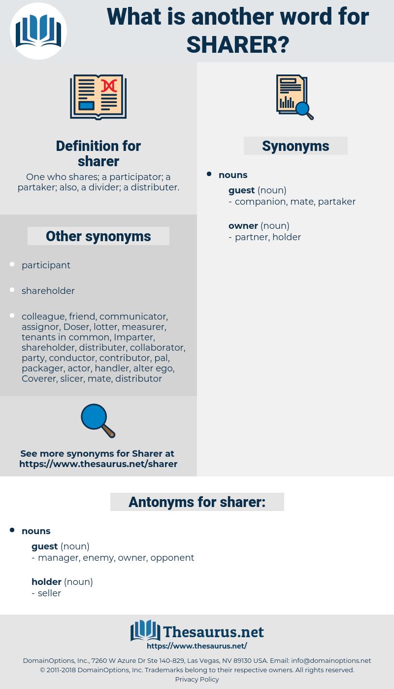 sharer, synonym sharer, another word for sharer, words like sharer, thesaurus sharer