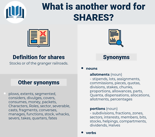 shares, synonym shares, another word for shares, words like shares, thesaurus shares