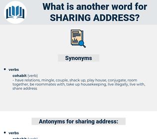 sharing address, synonym sharing address, another word for sharing address, words like sharing address, thesaurus sharing address