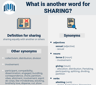 sharing, synonym sharing, another word for sharing, words like sharing, thesaurus sharing