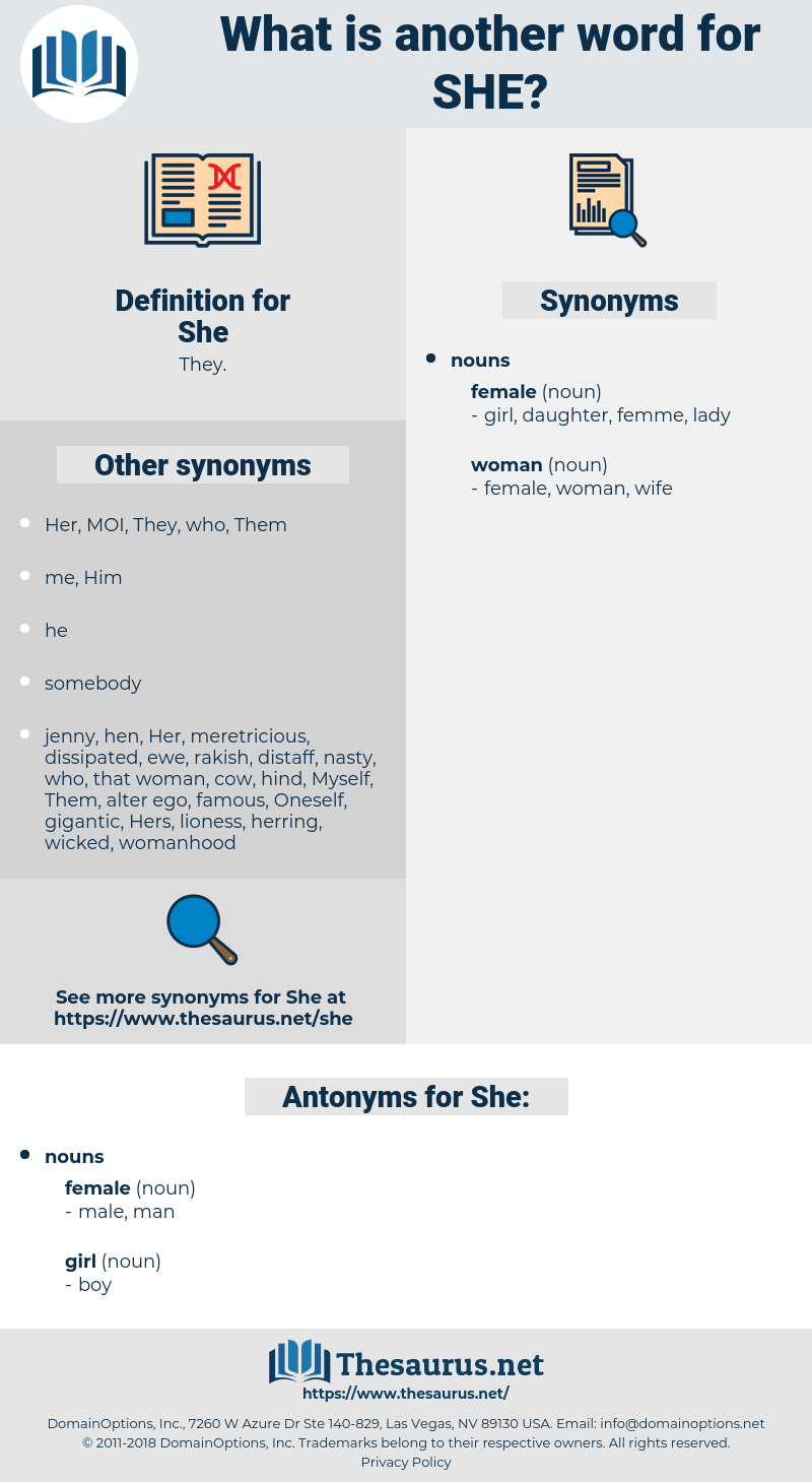 She, synonym She, another word for She, words like She, thesaurus She