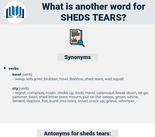 sheds tears, synonym sheds tears, another word for sheds tears, words like sheds tears, thesaurus sheds tears