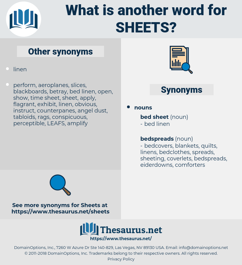 sheets, synonym sheets, another word for sheets, words like sheets, thesaurus sheets