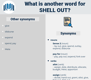 shell out, synonym shell out, another word for shell out, words like shell out, thesaurus shell out