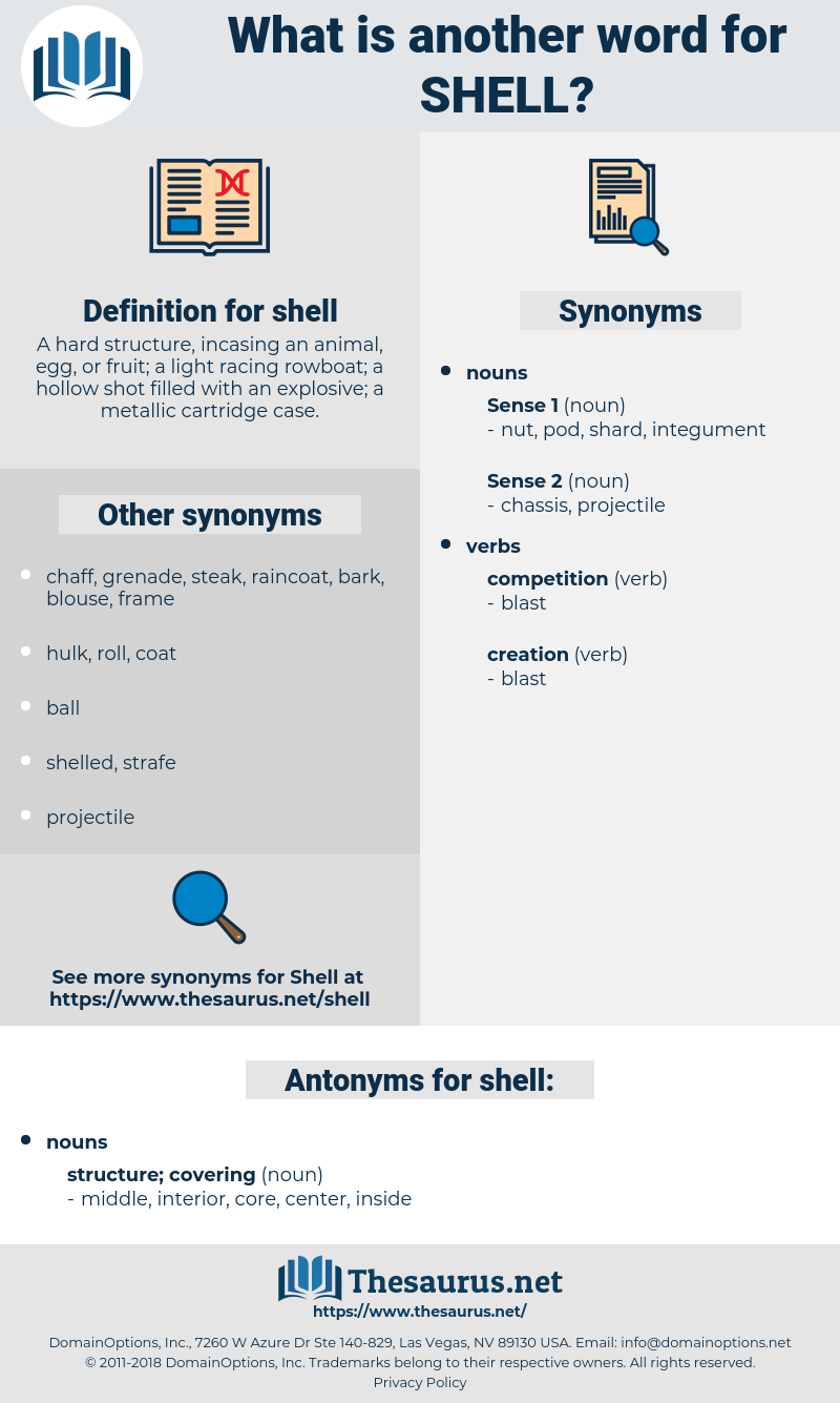 shell, synonym shell, another word for shell, words like shell, thesaurus shell