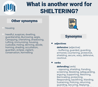 Sheltering, synonym Sheltering, another word for Sheltering, words like Sheltering, thesaurus Sheltering