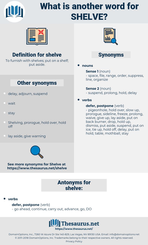 shelve, synonym shelve, another word for shelve, words like shelve, thesaurus shelve