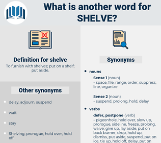 shelve, synonym shelve, another word for shelve, words like shelve, thesaurus shelve
