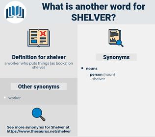 shelver, synonym shelver, another word for shelver, words like shelver, thesaurus shelver
