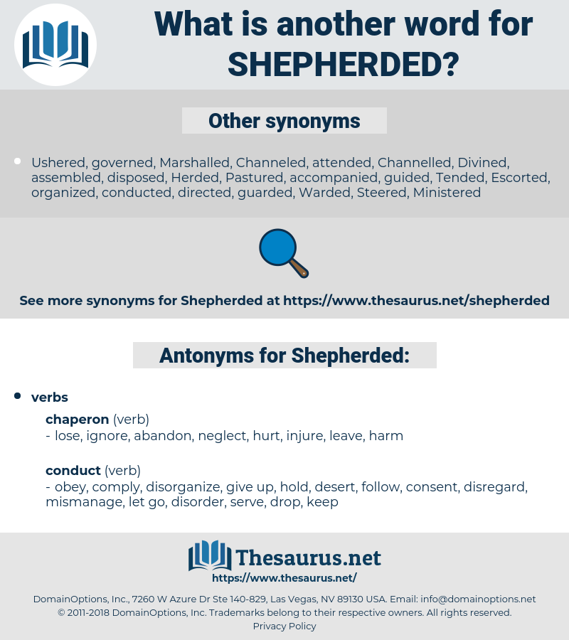 Shepherded, synonym Shepherded, another word for Shepherded, words like Shepherded, thesaurus Shepherded